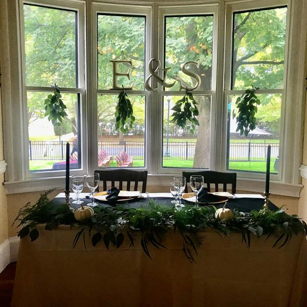 Head table in our bay window