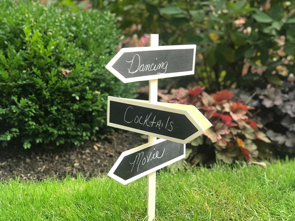 Signs directing wedding guests