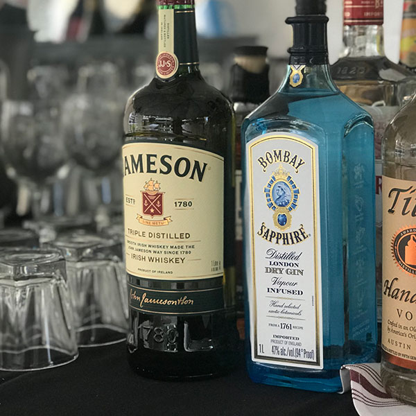 Full bar celebrating American spirits and wines