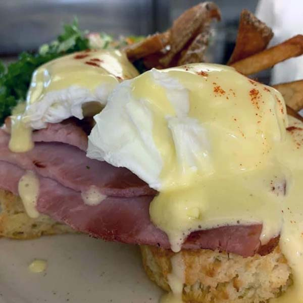 Eggs Benedicts at Morgan and Co Brunch